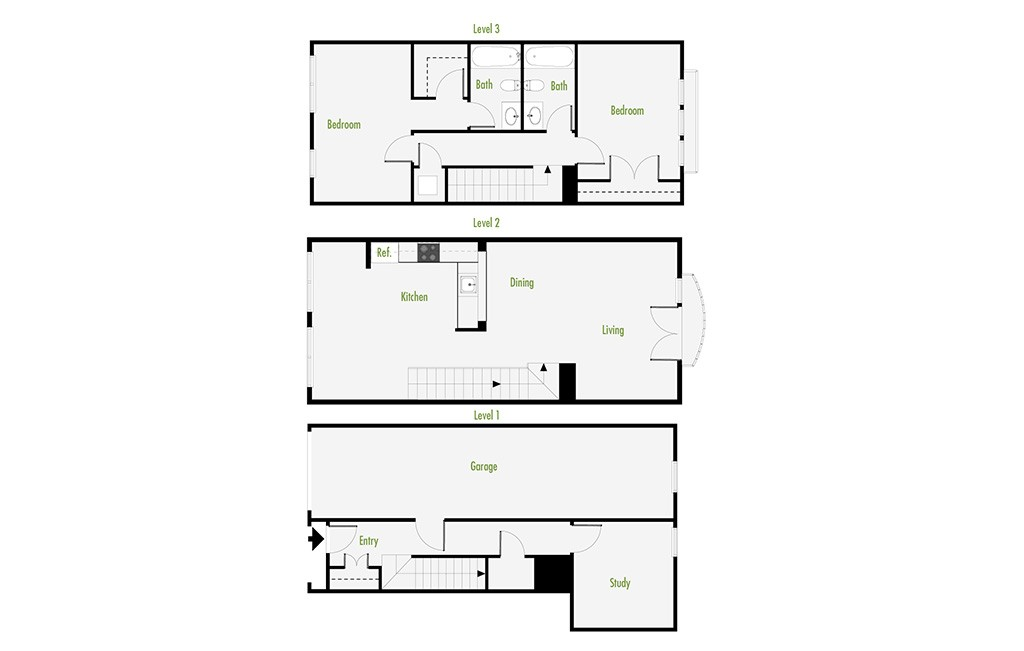 Plan C | 2 Bedroom Townhome | 2 Bath | Den | 1540 SF