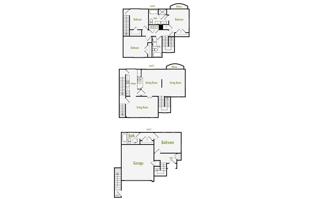 Plan E | 4 Bedroom Townhome | 3 Bath | Den | 2271 SF