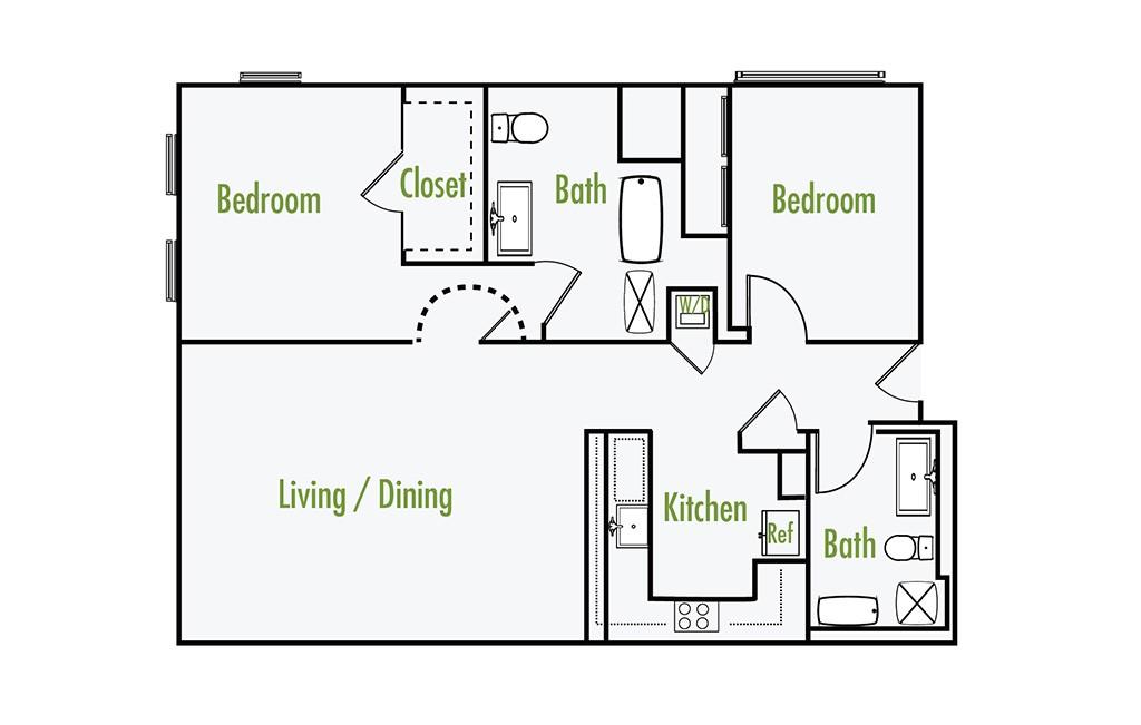 Plan A | 2 Bedroom Flat | 2 Bath | 1283 sf