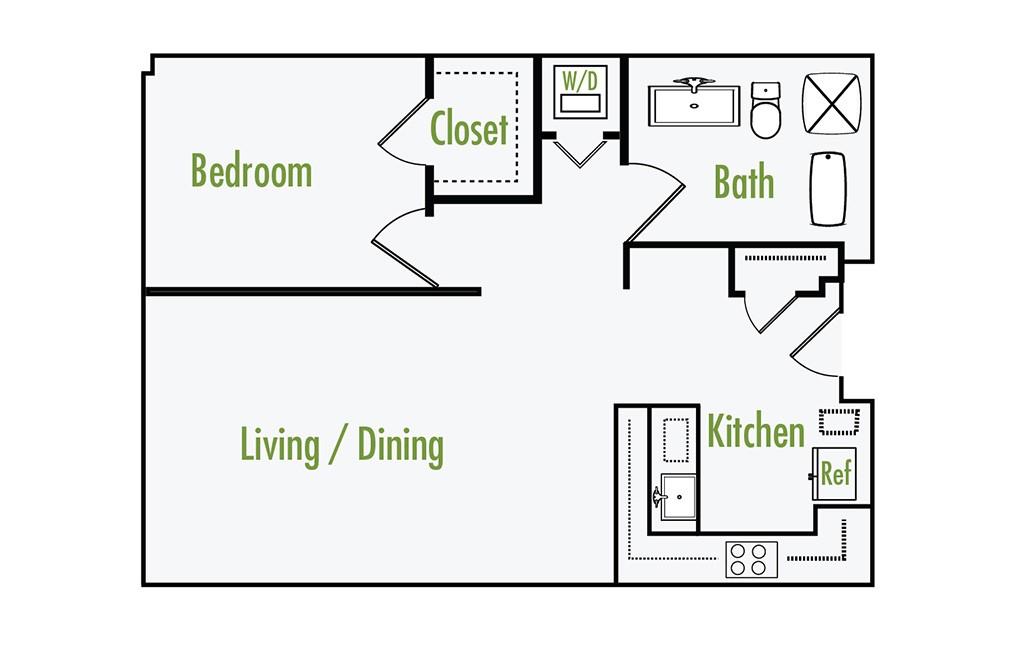 Plan B   1 Bedroom Flat   1 Bath   805 Sf