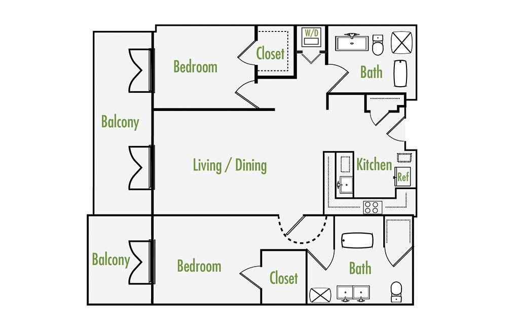 Plan C   2 Bedroom Flat   2 Bath   1195 sf