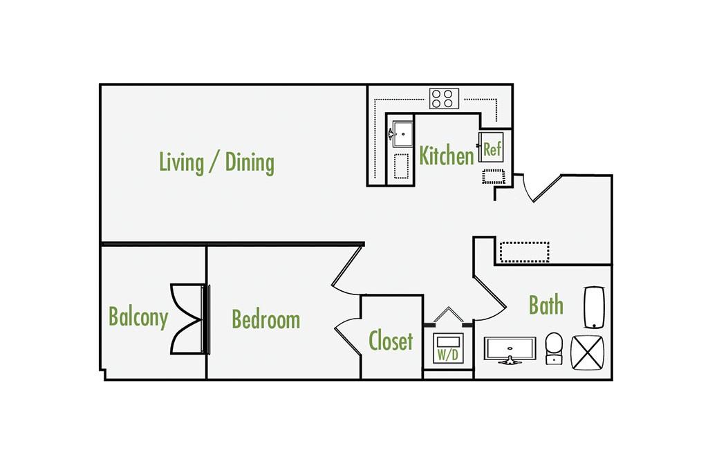 Plan D   1 Bedroom Flat   1 Bath   855 sf