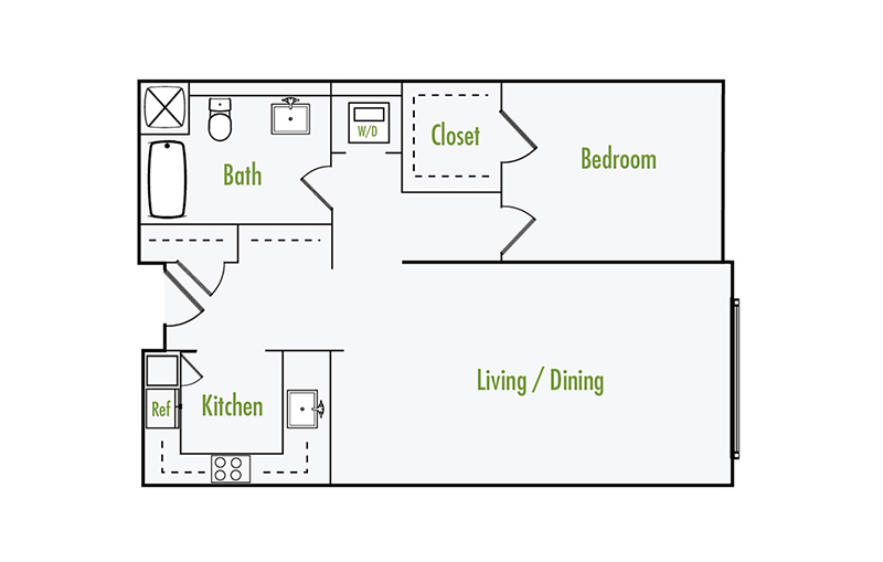Plan G | 1 Bedroom Flat | 1 Bath | 852 Sf
