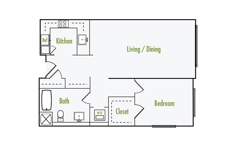 Plan G2 | 1 Bedroom Flat | 1 Bath | 873 sf