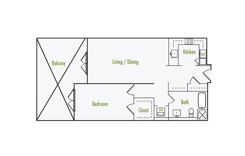 Plan G3 | 1 Bedroom Flat | 1 Bath | 899 sf