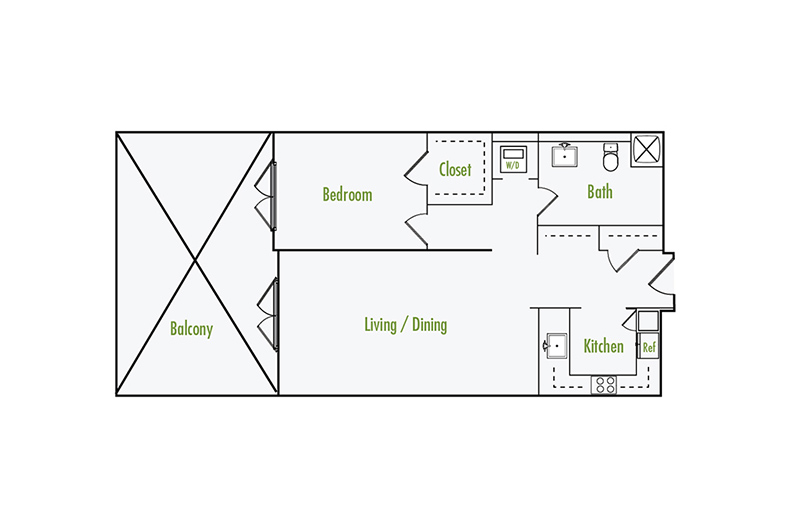 Plan G4 | 1 Bedroom Flat | 1 Bath | 862 sf