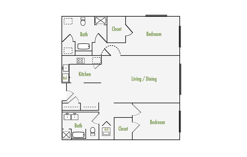 Plan H   2 Bedroom Flat   2 Bath   1276 sf